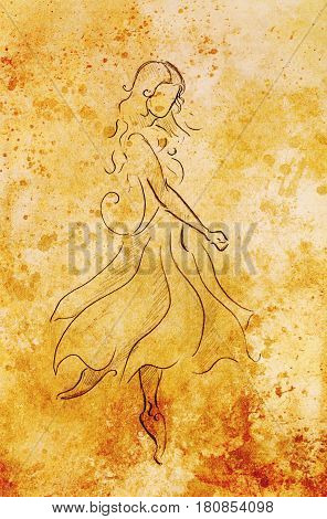 Standing figure woman, pencil sketch on paper. . Color effect