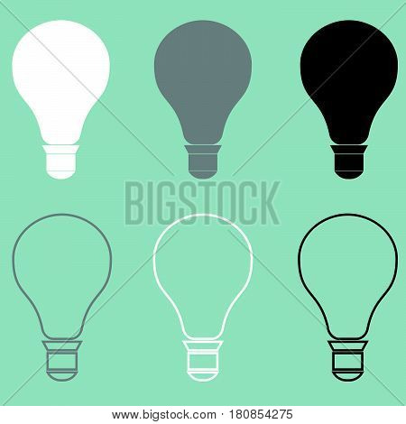 Bulb or electric light icon set .