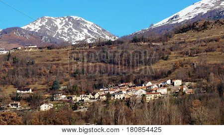 Landscape of Europe village with snow mountain and blue sky