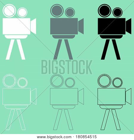 Cine projector or filmprojector it is icon set.