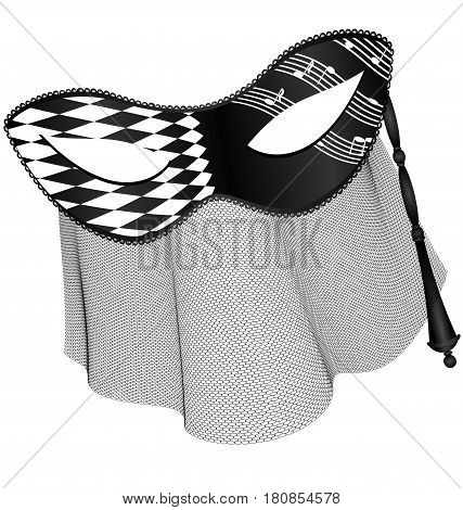 light background, black white carnival half mask with veil and stick