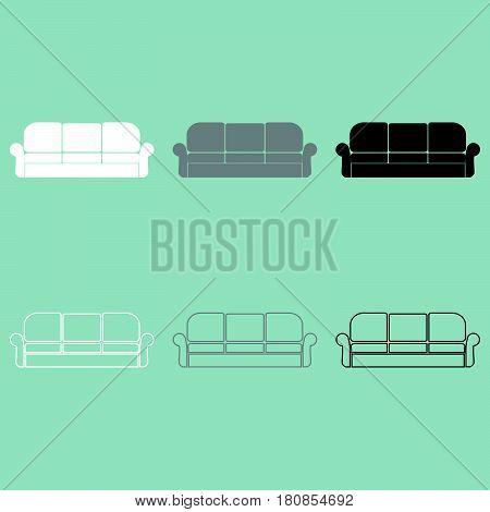 Divan Or Sofa White Grey Black Icon.