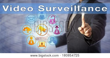 Blue chip corporate security manager is urging for Video Surveillance. Information and security technology metaphor for law enforcement crime prevention privacy and closed-circuit television.