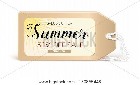 Advertising banner sales with typography. Summer sale 50 percent discount, buy now. Advertising in retro style on the label, tag with the bright sun