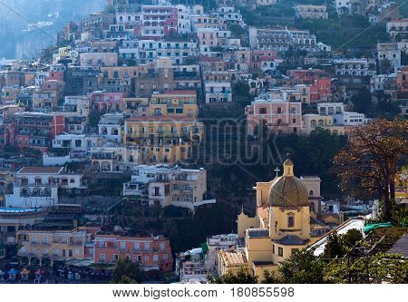 Italy Campania Positano panoramic view of the town at sunset