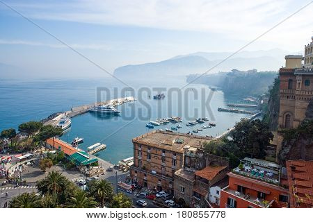 Sorrento Italy - March 23 2008: The coast and the harbor seen from the town center