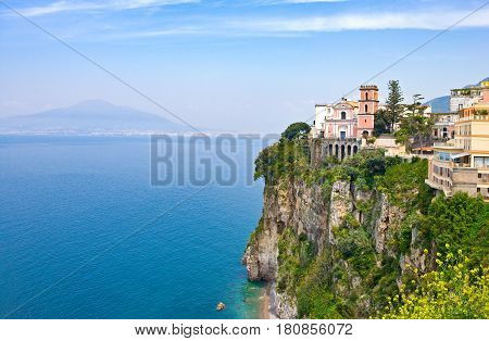 Italy Campania Vico Equenseview of the town over the sea