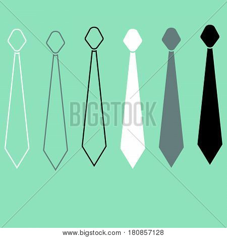 Tie Or Cravat Path And Flat Style Icon.