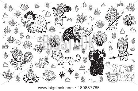 Outline drawing of cartoon prehistoric animals and hunters in the forest. Vector illustration. Coloring page for child