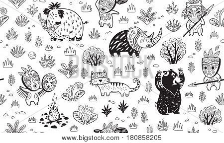 Ink seamless pattern with cartoon prehistoric animals and hunters in the forest. Black and white vector illustration. Coloring book