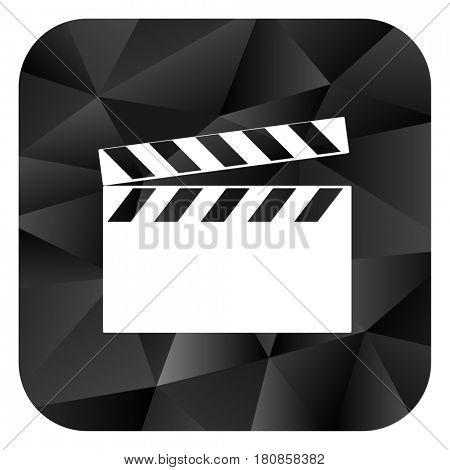 Video black color web modern brillant design square internet icon on white background.