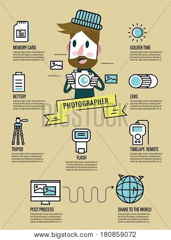 Photography Infographic. photographer with Photography equiment icons. flat line design. vector illustration
