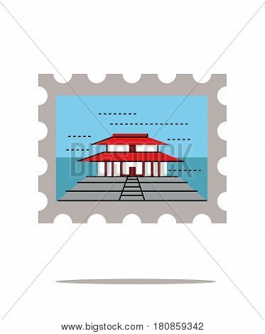 Traditional Chinese building Stamp. China landmark. flat line design. vector illustration