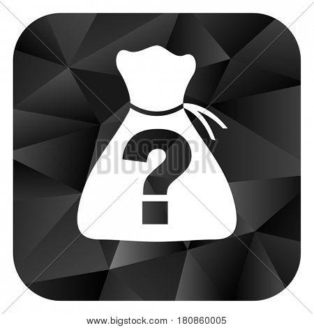 Riddle black color web modern brillant design square internet icon on white background.