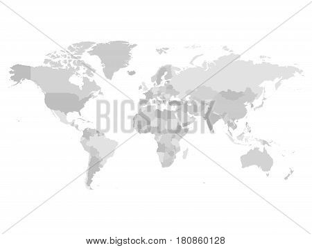 World map in four shades of grey on white background. High detail blank political map. Vector illustration with labeled compound path of each country.