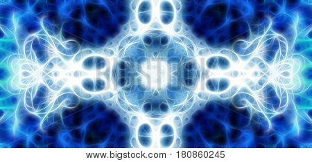 Ornamental mandala and fractal effect. Winter structure