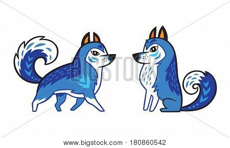 Blue Siberian Husky dogs with ornament in folk style isolated on white background. Vector illustration
