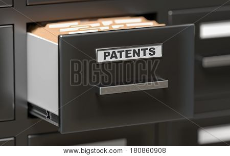 Patent Files And Documents In Cabinet In Office. 3D Rendered Ill