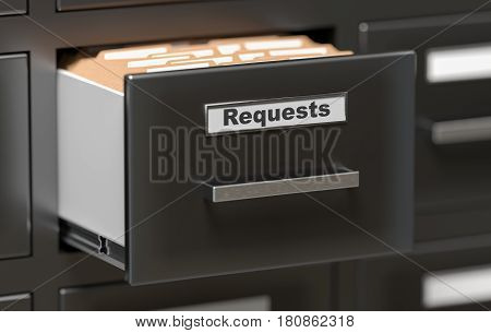 Requests Files And Documents In Cabinet In Office. 3D Rendered I