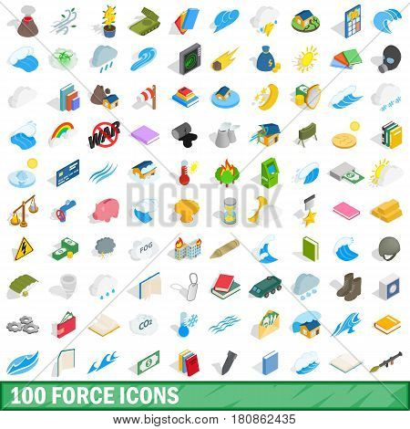 100 force icons set in isometric 3d style for any design vector illustration