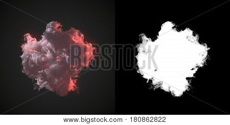 Abstract pink dust wave of chemical smoke on dark background with alpha channel 3d rendering