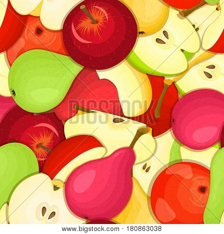 Ripe juicy pear apple seamless background. Vector card illustration. Closely spaced fresh fruits peeled, piece of half, slice, flower. Pear apple seamless pattern for packaging design food, juce.