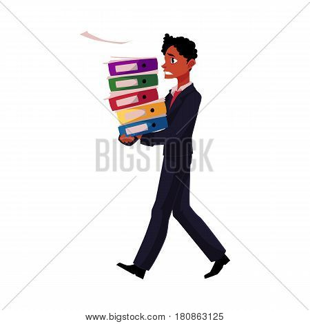 Black, African American businessman overloaded with document folders, stressed out, cartoon vector illustration isolated on white background. Black businessman with document folders, feeling stressed