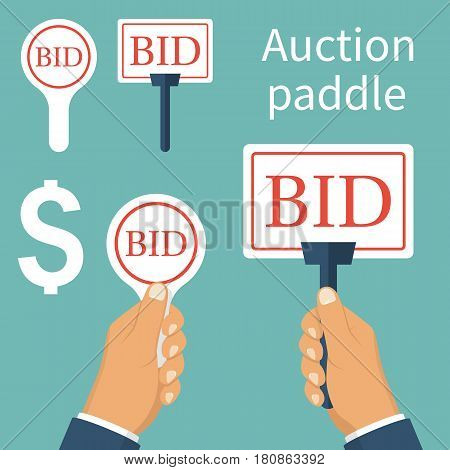Auction paddle isolated and holding in hand. A set of tablets. Business bidding process concept. Vector illustration flat design. Template for open trade. Many offers good prices. Competition.