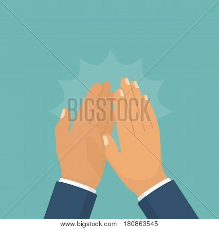 Clapping hands. Applause clap hands. Vector illustration flat design. Isolated on background. Gesture bravo.