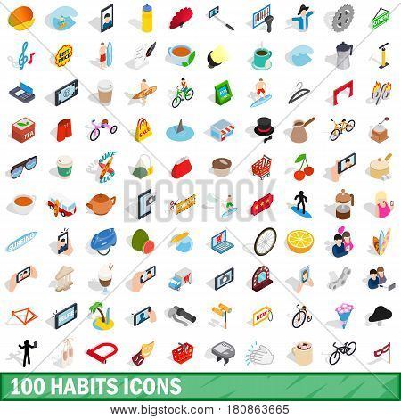 100 habits icons set in isometric 3d style for any design vector illustration