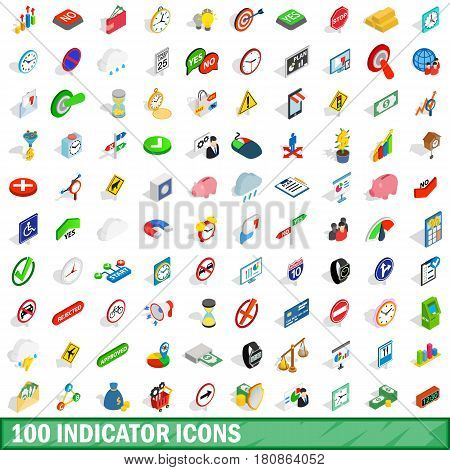 100 indicator icons set in isometric 3d style for any design vector illustration