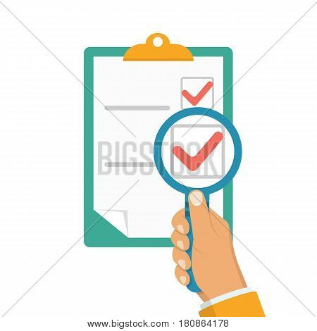 Man holding a magnifying glass in hand, watching a clipboard. Magnified check mark. Vector illustration flat design. Isolated on white background. Tick icon. Checklist.