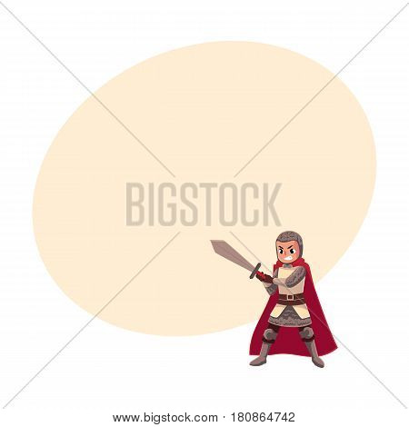 Medieval knight child, sword bearer, squire in chain armor, cartoon vector illustrationwith space for text. Full length portrait of kid armor bearer, page, knight apprentice