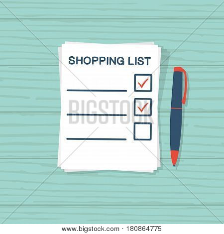 Paper sheet with shopping list. Template for product purchase. Blank with mark. Vector illustration flat design. Isolated on a wooden table background. Inventory check.