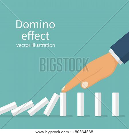 Domino effect. Stopping chain reaction business solution. Successful intervention. The man stops the falling domino with finger hand. Vector illustration flat design. Isolated on white background.