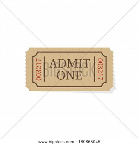 Ticket isolated on white background. Retro cinema theater ticket. Vector illustration flat style design. Coupon on concert. Access entertainment. Pass permission.