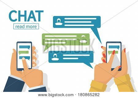 Chat concept. Man and female hold in hand smartphone. People using mobile gadgets for communication. Texting messages in internet. Vector illustration flat design. Isolated on white background.