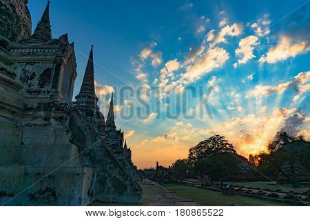 Ancient Ruins With Magnificent Sunrise Sky