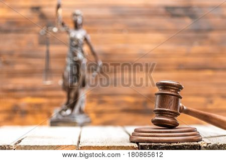 Close-up View Of Brown Wooden Mallet Of Judge On Wooden Table, Law Concept