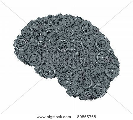 Human brain built out of gears saturated in cool gray tones isolated on white background (concept)