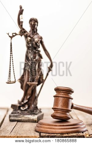 Statue Of Lady Justice And Mallet On Wooden Table, Law Concept