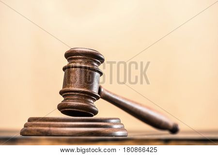 Close-up View Of Brown Wooden Mallet Of Judge, Law Concept