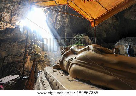 Bronze Thai Buddha In Tham Phu Kham Cave