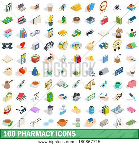 100 pharmacy icons set in isometric 3d style for any design vector illustration