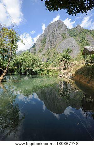 Blue Lagoon At Pukham Cave In Vang Vieng