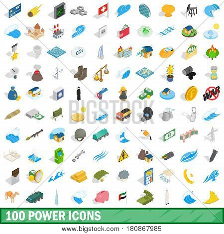 100 power icons set in isometric 3d style for any design vector illustration