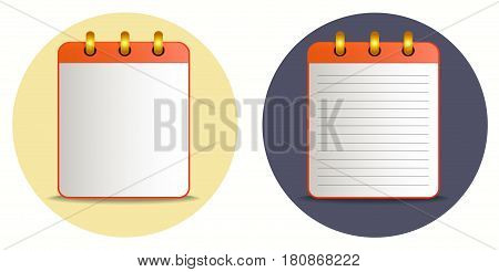 Icon of notebook in two variations on the bright colorful background. Tear-off notepad on the rings with lines and without them. Icon in flat style. Horizontal. Isolated.