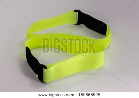 View of visibilty reflective wristband isolated on white.Its perfect for runners,walkers & cyclists.