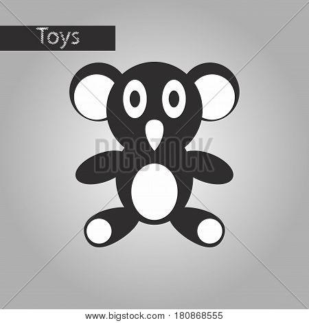 black and white style icon Koala toy