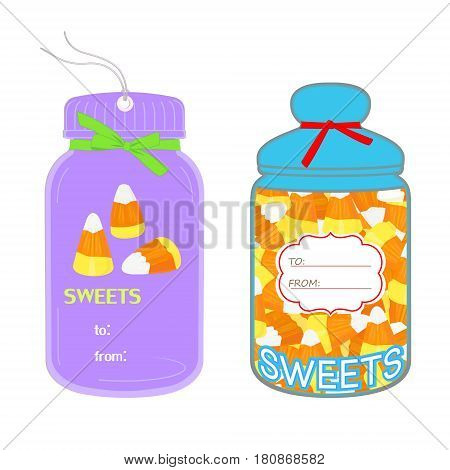 Tags in the shape of jar with candy corn isolated on white background